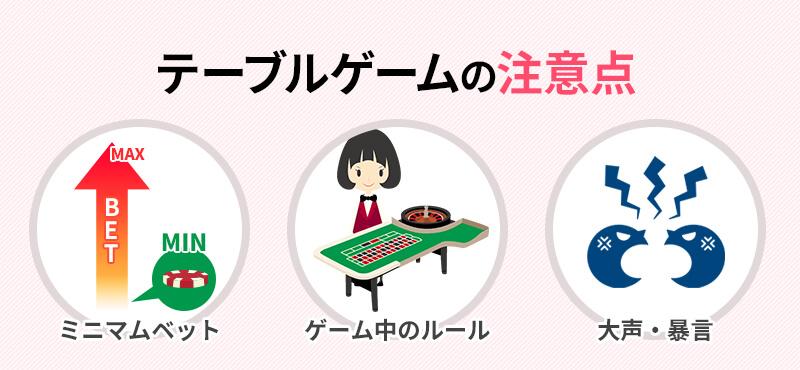 テーブルゲームの注意点
